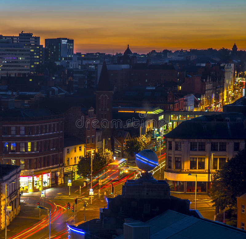 Nottingham City Centre. (Lower Parliament Street) at sunset royalty free stock images