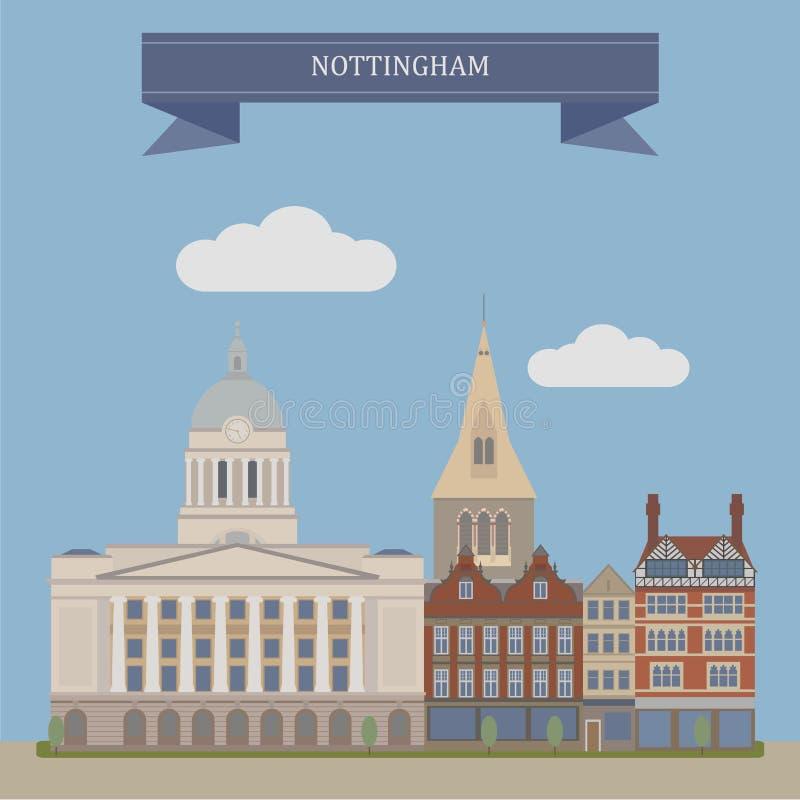 Nottingham, Engeland stock illustratie