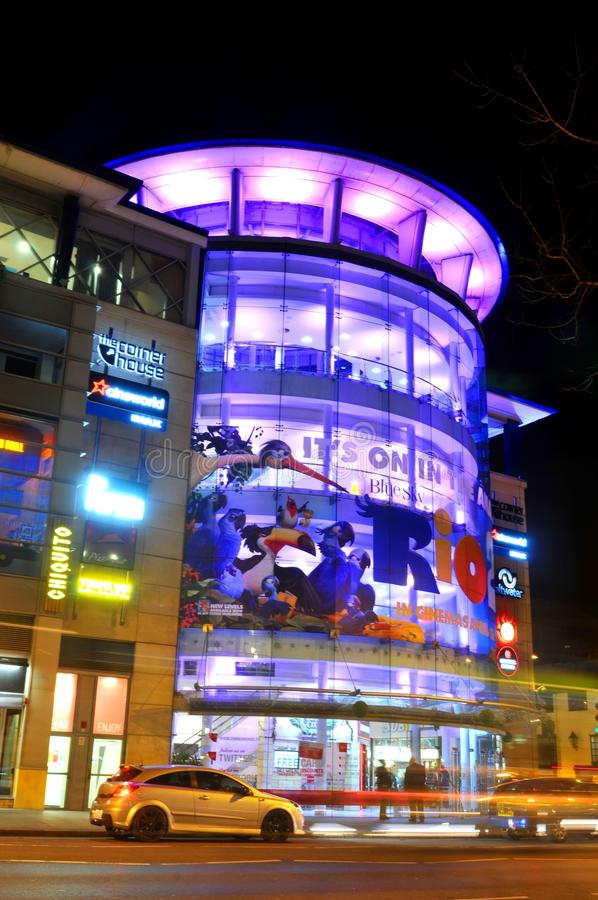 Nottingham by night. NOTTINGHAM, UK - APRIL 1, 2015: Night view of the Corner House, major leisure complex in the city centre of in Nottingham, Nottinghamshire stock photos