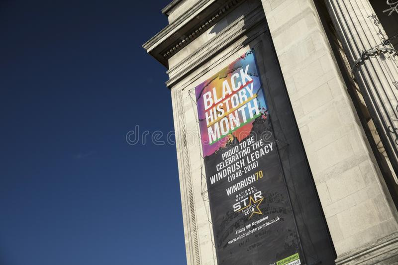 Nottingham, Nottinghamshire, UK: October 2018: Banner to Celebrate Black History Month royalty free stock images