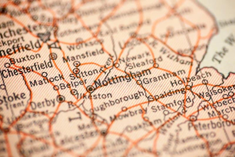 Nottingham sur la carte de vintage images libres de droits