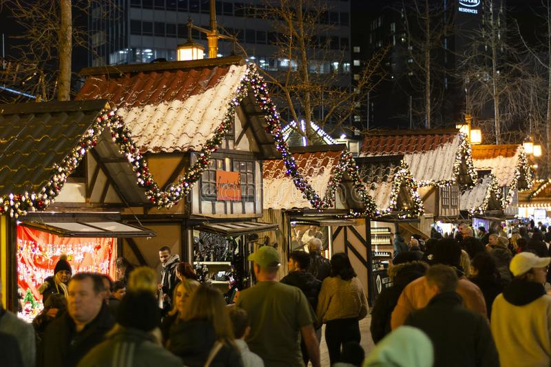 Nottingham, United Kingdom - December 14, 2019 - Christmas market and lots of people at Nottingham Christmas market. Nottingham, United Kingdom - December 14 stock photo