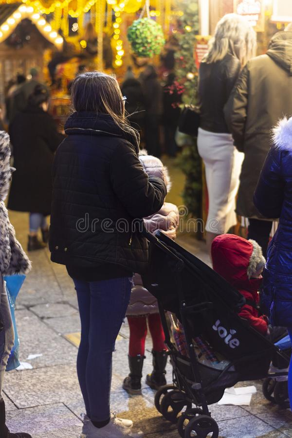 Nottingham, United Kingdom - December 14, 2019 - Christmas market and lots of people at Nottingham Christmas market. Nottingham, United Kingdom - December 14 stock photography
