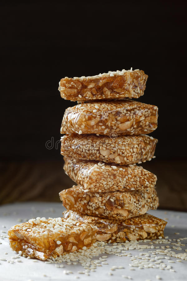 Nougat with sesame seeds and peanuts. royalty free stock photography