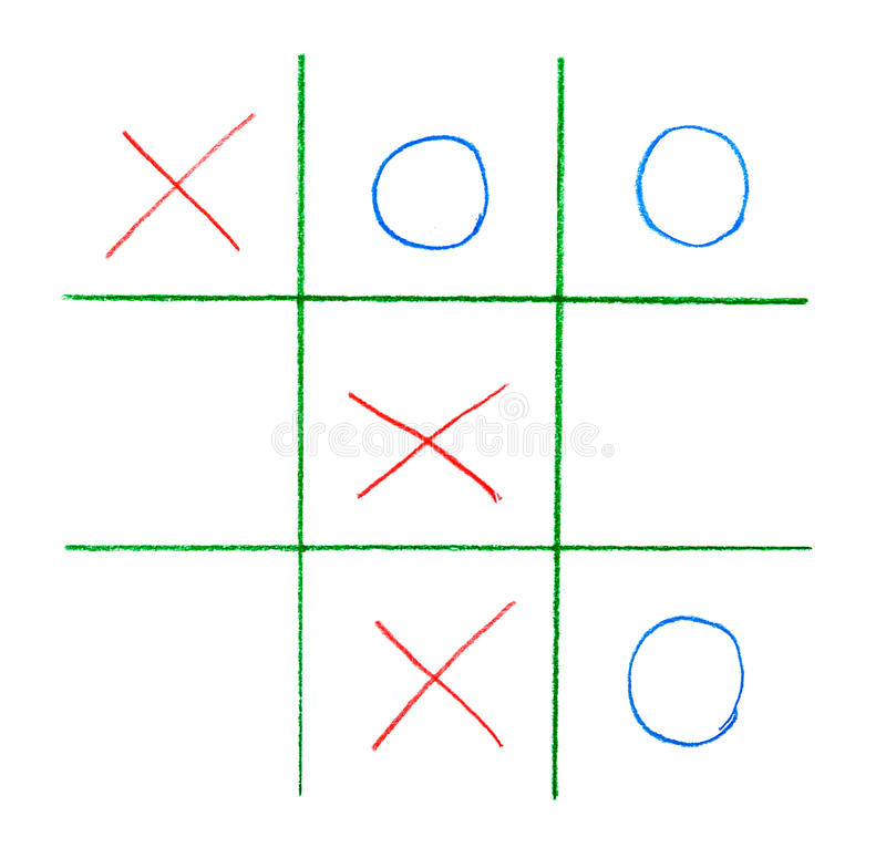 Noughts and crosses game. Isolated on white background royalty free stock photography
