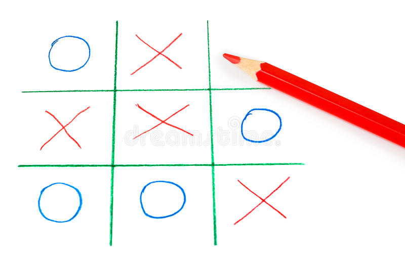 Noughts and crosses game. Isolated on white background stock photo