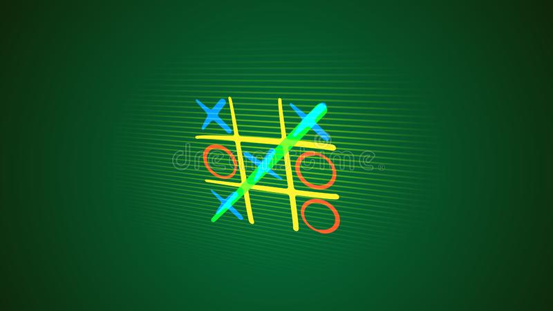 Noughts and crosses game in green backdrop stock photography