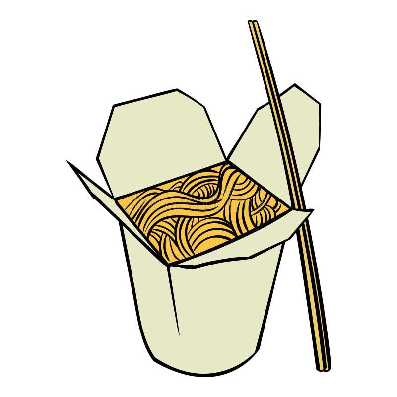 Nouille chinoise dans la bande dessinée d'icône de boîte illustration libre de droits