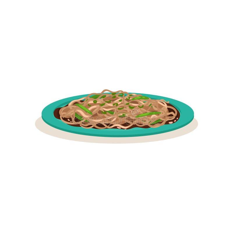 Nouille frite savoureuse avec les haricots verts Nourriture malaisienne traditionnelle Plat asiatique appétissant Conception plat illustration de vecteur