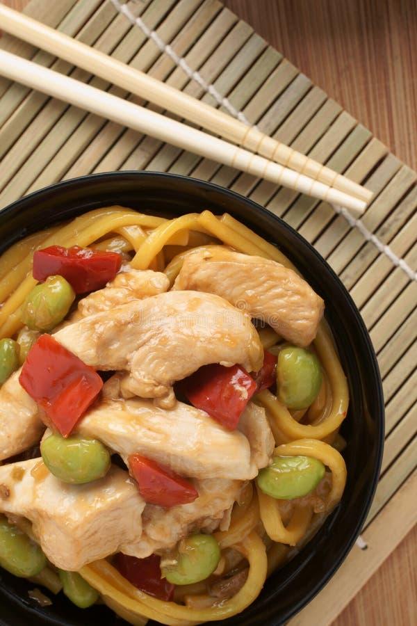 Nouilles de poulet de Teriyaki image stock