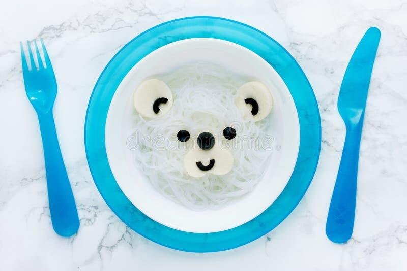 Nouilles de riz de blanc d'ours blanc images libres de droits