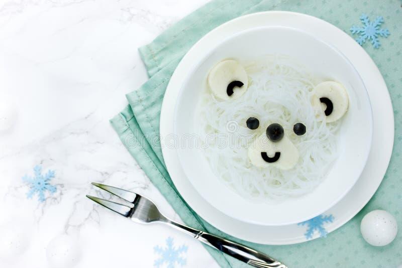 Nouilles de riz de blanc d'ours blanc image libre de droits