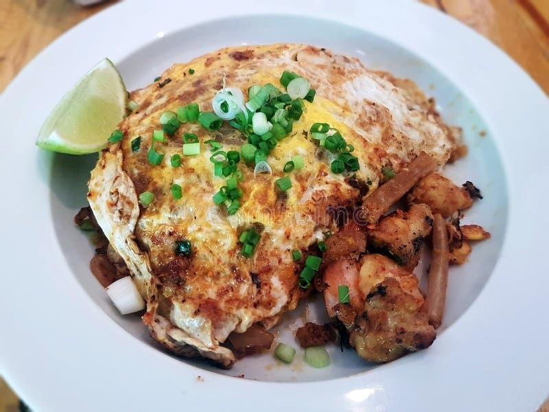 Nouilles de riz frit avec le poulet photo stock