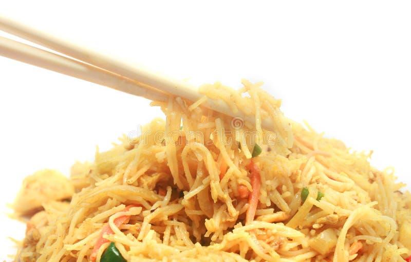 Nouilles de riz frit de Stir de type de Singapour photographie stock libre de droits
