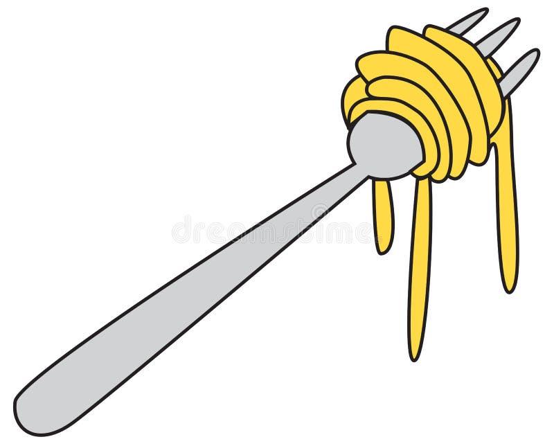 Nouilles sur le griffonnage de fourchette illustration libre de droits