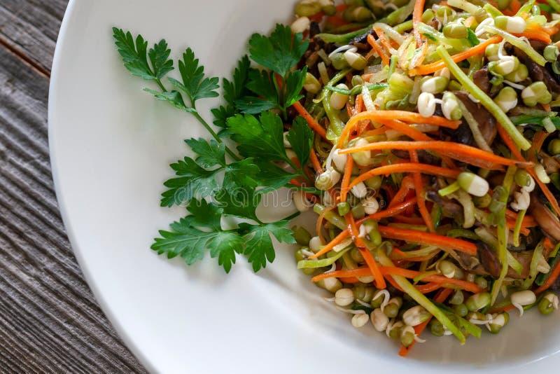 Nouilles végétales de courgette, carottes, concombres, champignons photos libres de droits