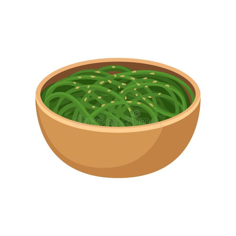 Nouilles vertes dans la cuvette en céramique brune Plat traditionnel de cuisine japonaise Nourriture asiatique Vecteur plat pour  illustration libre de droits