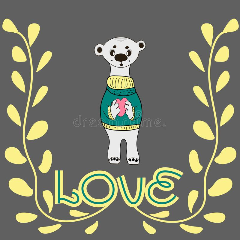 Nounours dr?le de caract?re se tenant dans les pattes d'un grand coeur Le concept du jour du ` s de Valentine illustration libre de droits