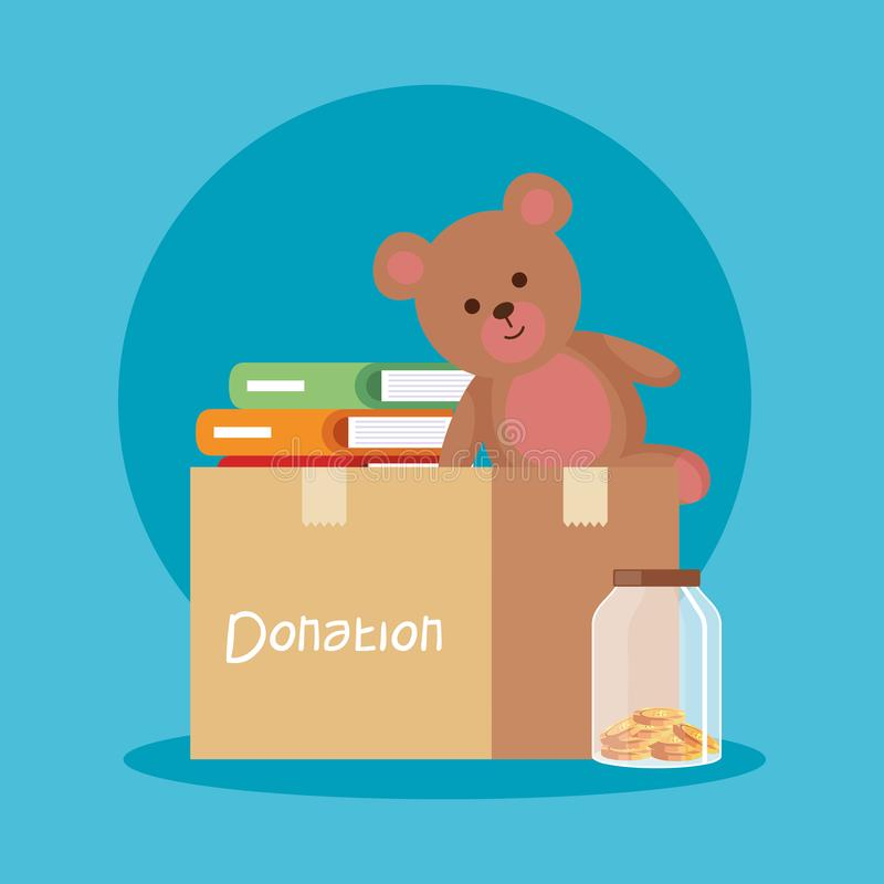 Nounours et livres à l'intérieur de donation et de tirelire de boîte illustration libre de droits