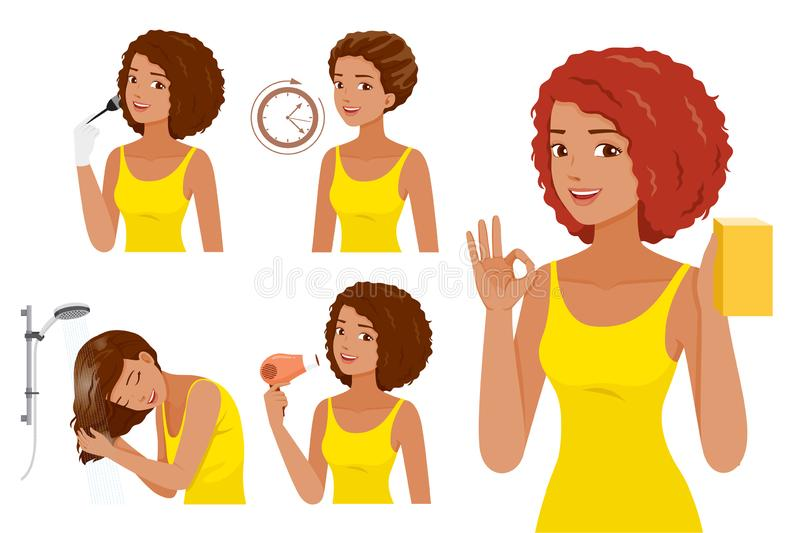 Hair Coloring Process. Steps Of Black Skin Woman Coloring Her Own Hair. Nourishing Beauty Fashion Hairstyle Scalp royalty free illustration