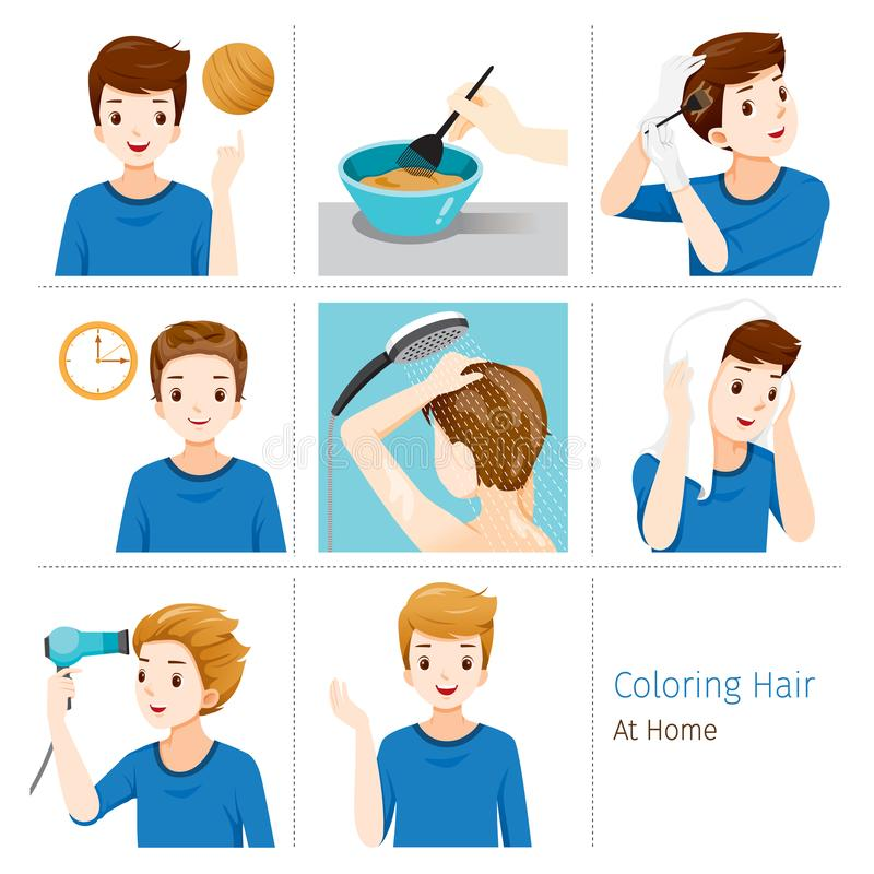 Hair Coloring Process. Steps Of Young Man Coloring His Own Hair From Brunette to Blonde At Home. Nourishing Beauty Fashion Hairstyle Scalp royalty free illustration