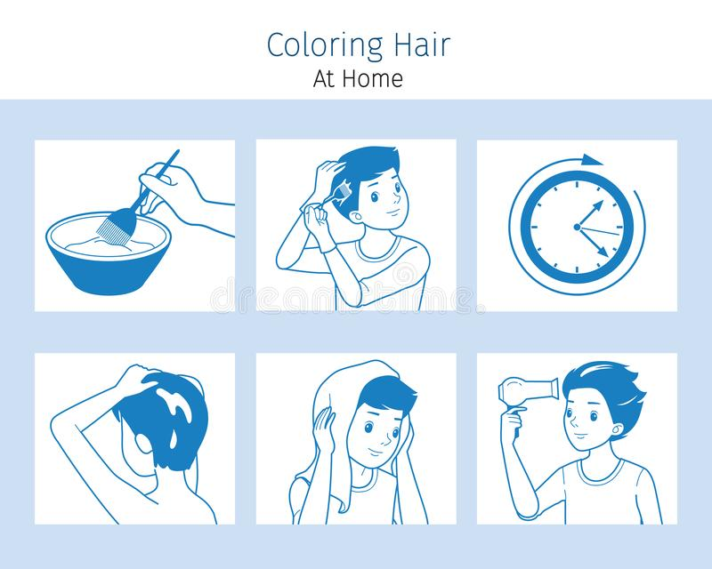 Hair Coloring Process. Steps Of Young Man Coloring His Own Hair From Brunette to Blonde At Home. Nourishing Beauty Fashion Hairstyle Scalp vector illustration