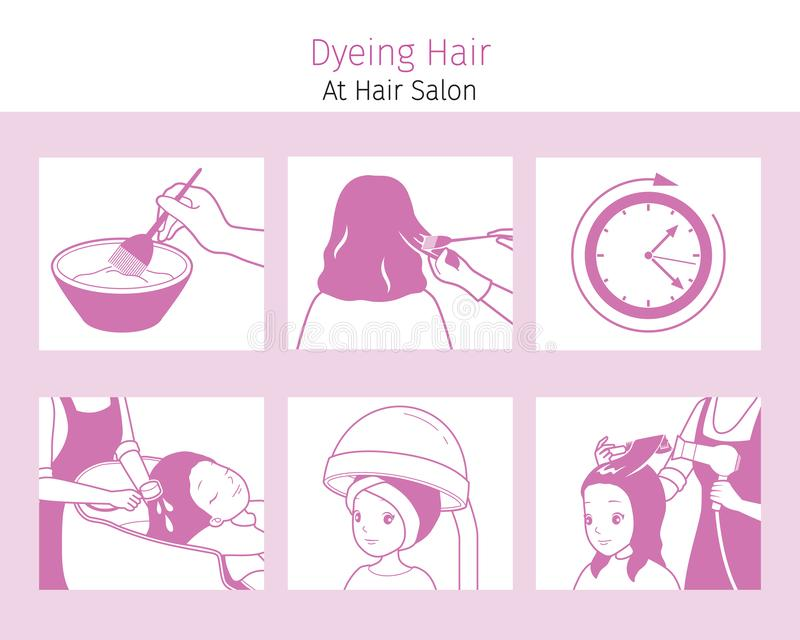 Steps to Dyeing Hair of Woman At Hair Salon, Monochrome. Nourishing Beauty Fashion Hairstyle Scalp royalty free illustration