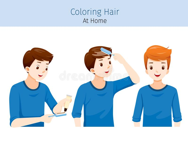 Young Man Coloring His Own Hair From Brunette to Blonde. Nourishing Beauty Fashion Hairstyle Scalp stock illustration