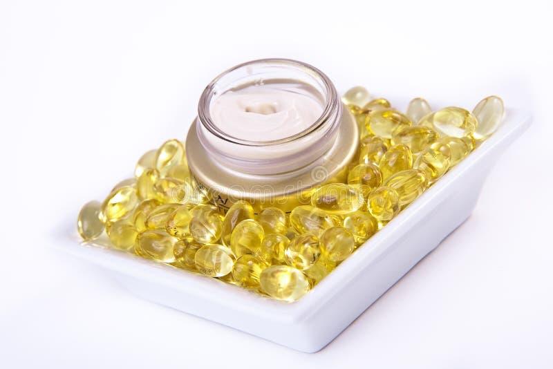 Nourishing cream. With omega acids stock images