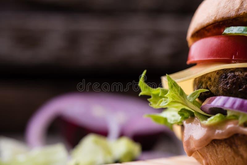Nourishing hamburger close up, with copy space royalty free stock photo