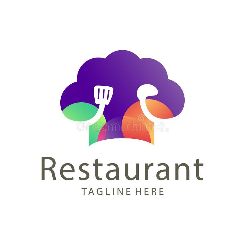 Nourriture élégante de restaurant et conception de logo de boissons illustration libre de droits