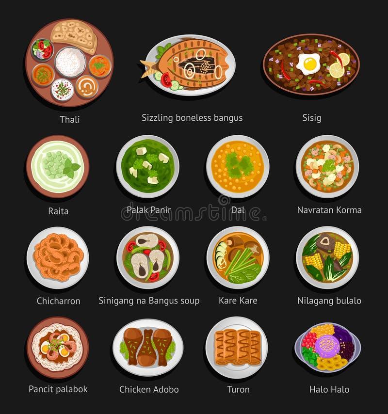 Nourriture asiatique Cuisine philippine et indienne illustration de vecteur