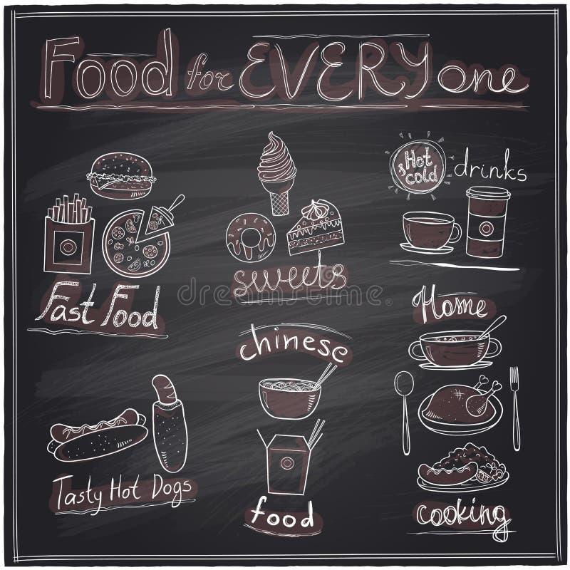Nourriture assortie et tableau de symboles graphiques de boissons illustration stock