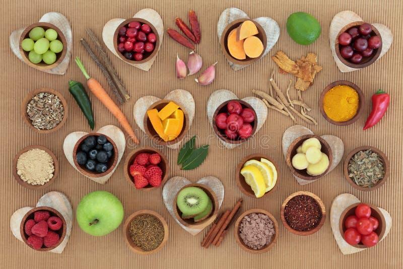 Nourriture biologique pour amplifier le système immunitaire images stock