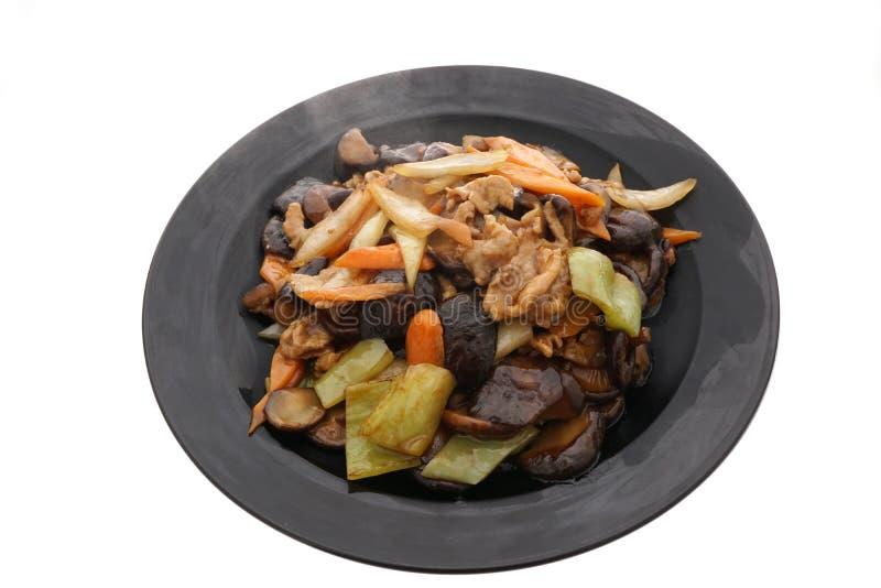 Nourriture chinoise Champignons frits avec des légumes image libre de droits