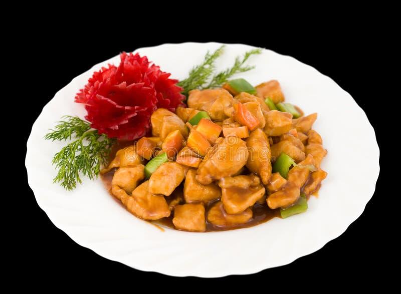 Nourriture chinoise. Porc doux, chemin de découpage. photos libres de droits