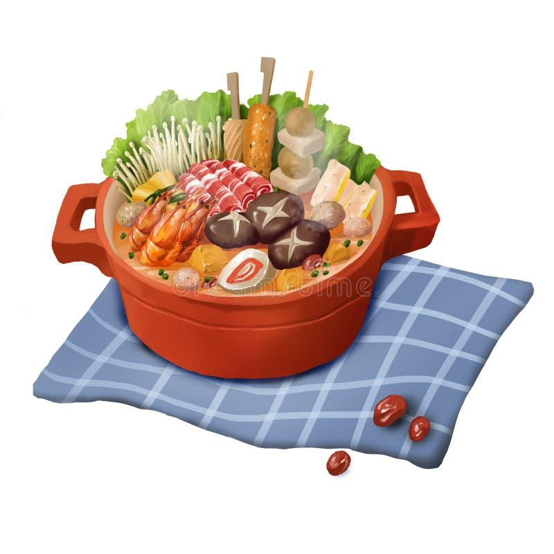 Nourriture chinoise, pot chaud, cocotte en terre sur le fond blanc illustration stock