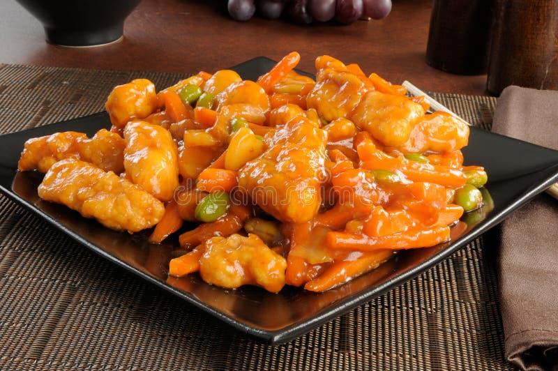 Nourriture chinoise, poulet orange photos libres de droits