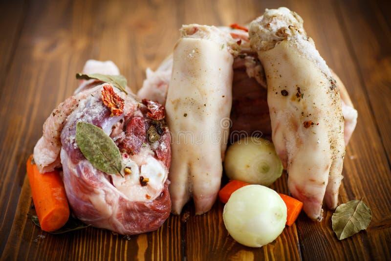 Nourriture crue pour faire cuire l'aspic de viande photo stock