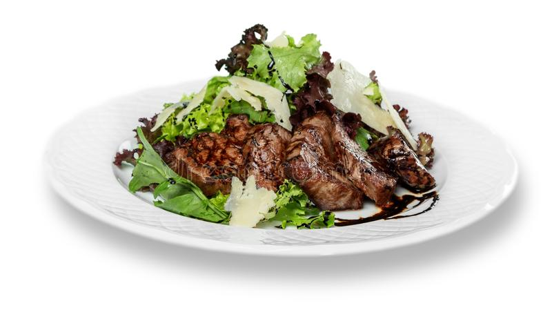 Nourriture délicieuse de restaurant dans le plat d'isolement dessus photo libre de droits