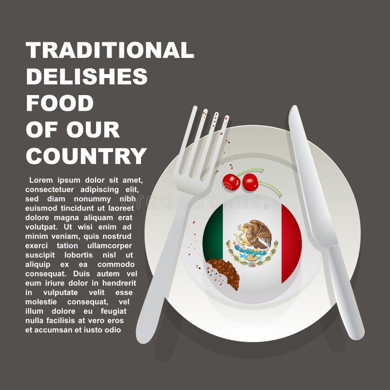 Nourriture délicieuse traditionnelle d'affiche de pays du Mexique Dessert national américain Gâteau d'illustration de vecteur ave illustration stock