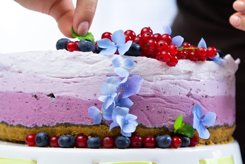 Nourriture dénommant et faisant cuire le gâteau de crème de fromage avec des myrtilles image stock
