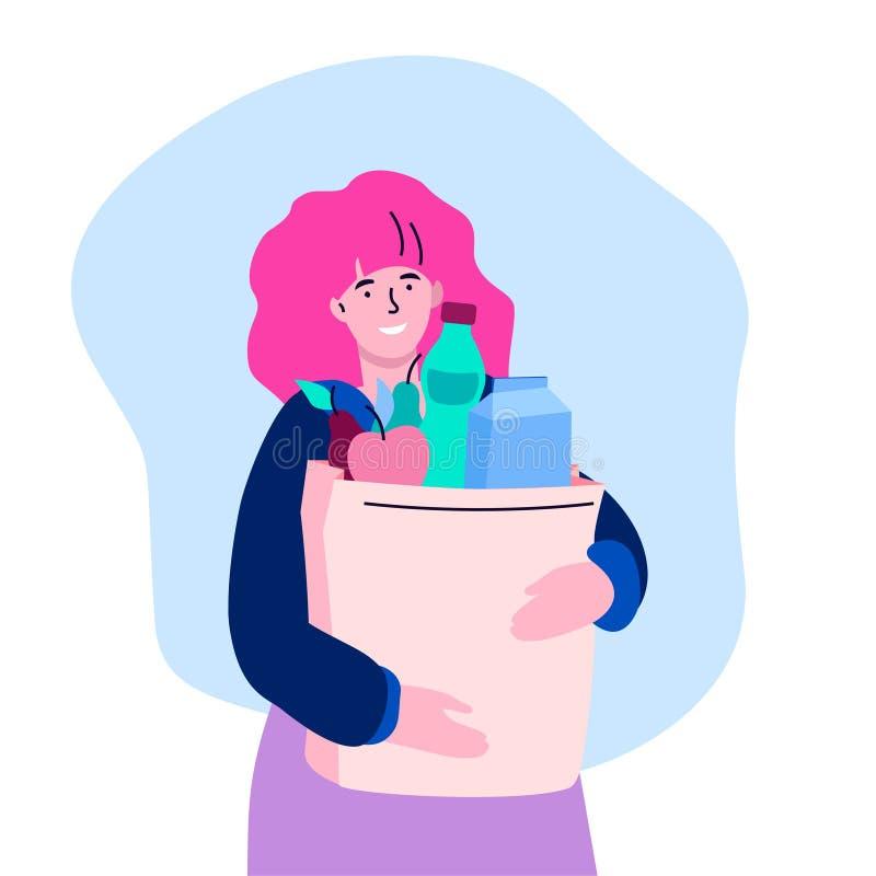 Nourriture d'achats de fille - illustration plate colorée moderne de style de conception illustration stock