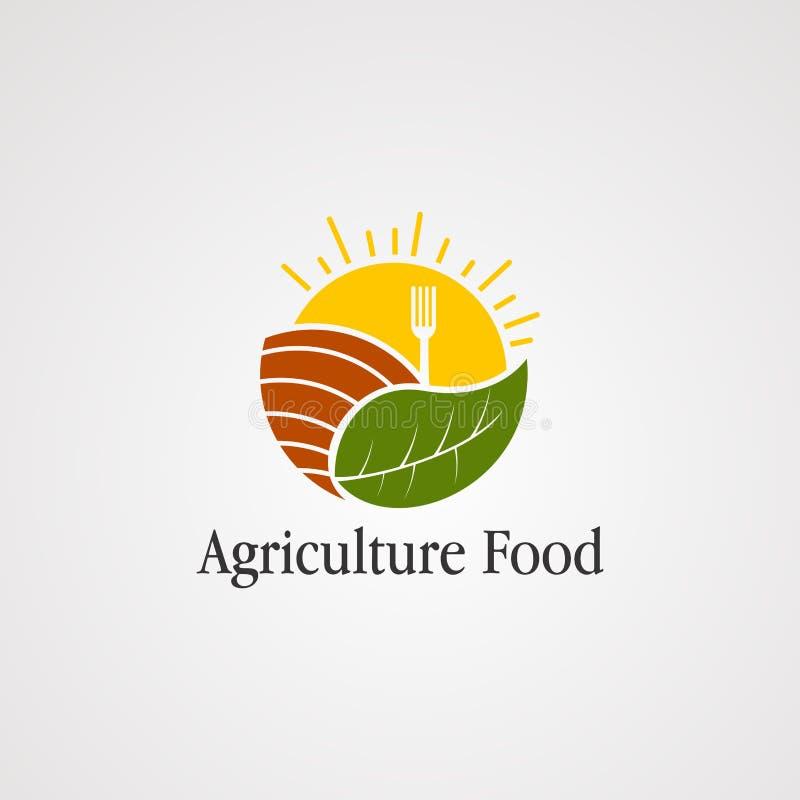 Nourriture d'agriculture avec le soleil, l'icône de vecteur de logo de feuille, l'élément, et le calibre pour la société illustration stock