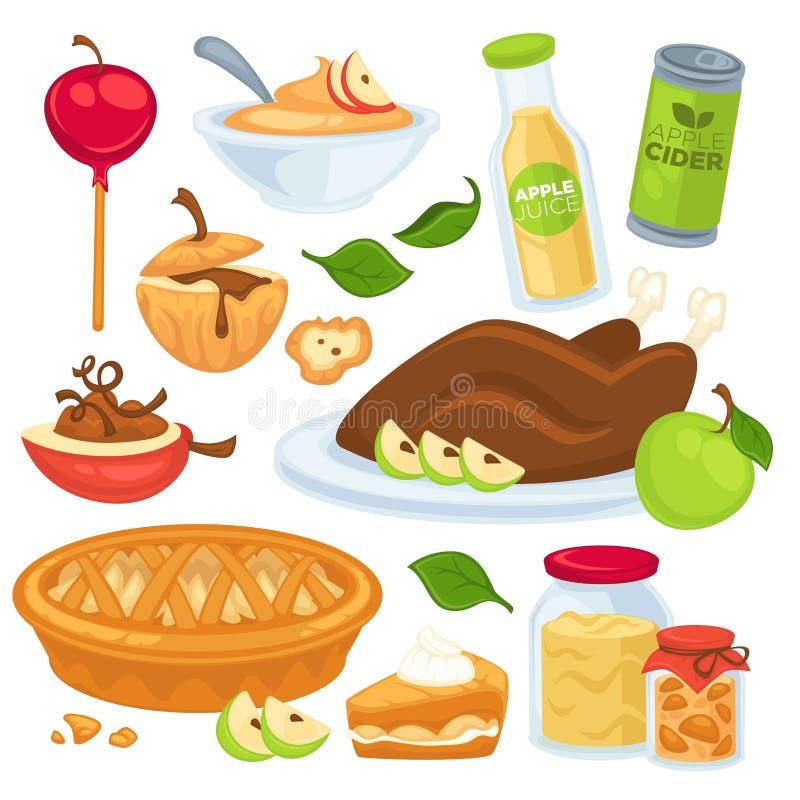 Nourriture d'Apple et boissons ou desserts illustration de vecteur