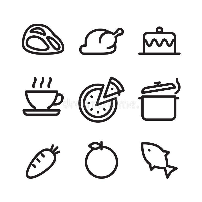 Nourriture d'icône d'ensemble, vecteur illustration stock