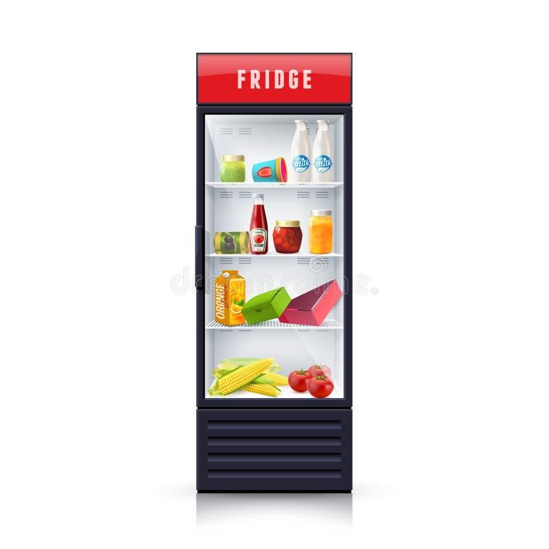 Nourriture dans l'icône réaliste d'illustration de réfrigérateur illustration libre de droits
