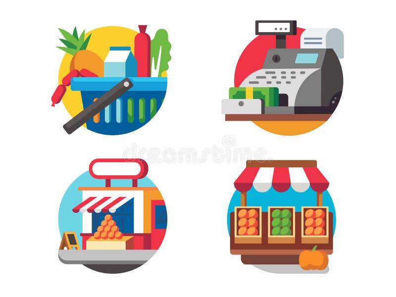 Nourriture de achat dans le supermarché illustration stock