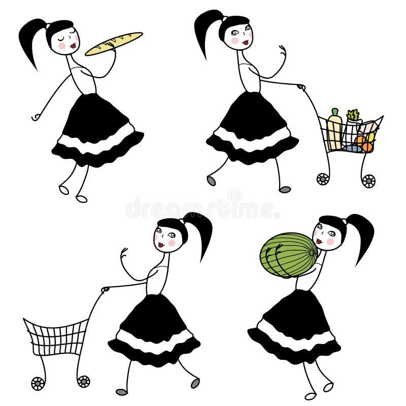 Nourriture de achat de caractère de fille illustration de vecteur