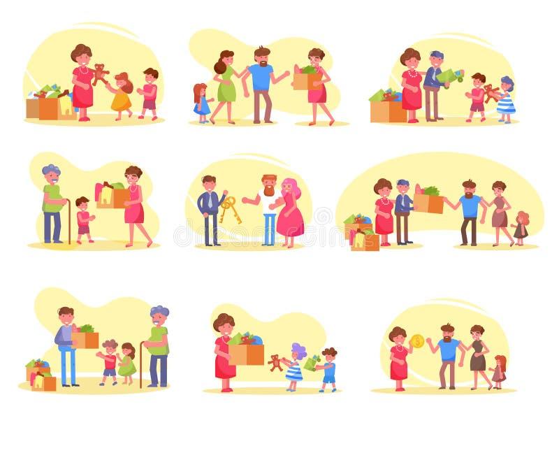 Nourriture de charité, vêtements, jouets, boîtes, volontaire, fonds, vecteur pauvre cartoon Ensemble d'isolement d'art, collectio illustration stock